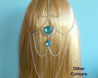 Silver Moon Goddess Headpiece, Pagan Moon Headdress, Wiccan Priestess Moon Headpiece, Renaissance Head Chain, Bridal Chain Veil,Cosplay,Larp