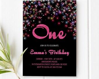 Hot Pink Birthday Invitation Confetti Birthday Invitation Baby Girl First Birthday Invitation Printable Girl Birthday Invite 1st 2nd 3rd 4th