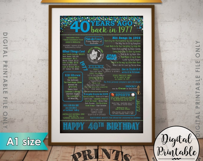 40th Birthday Gift 1977 Poster, AUSTRALIA 40 Years Flashback Instant Download Born in 1977 40th B-day Chalkboard Style A1 size Printable