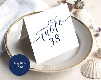 PDF Wedding 1-40 Navy Blue Table Numbers 5x5 Head Table Tented Folded style Table Number INSTANT DOWNLOAD Wedding calligraphy Printable