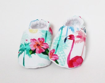 Baby slippers, Crib shoes, Flamingo, Palm tree, Tropical, Red, Pink, Blue, Green, Flower, Cotton, Soft soles, Moccasins, Toddler