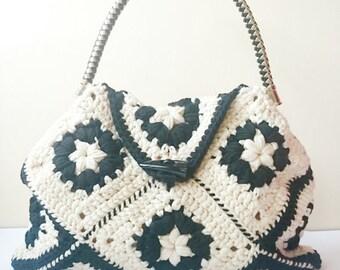 Granny Square Crochet Handbag, Top Handle Crochet Bag, Beige Black Handbag, Top Handle Handbag, Gift Women, Elegant Bag, Women Small Bag