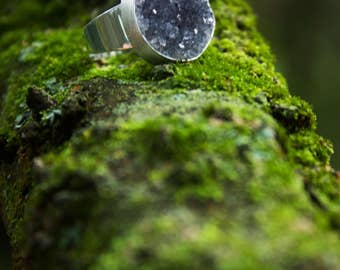 Round Raw Natural Black Druzy Ring set in Sterling Silver with Adjustable Style Band