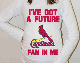 St Louis Cardinals Shirt St. Louis Cardinals Baseball Long Sleeve Maternity Shirt Pregnancy Baby Shower