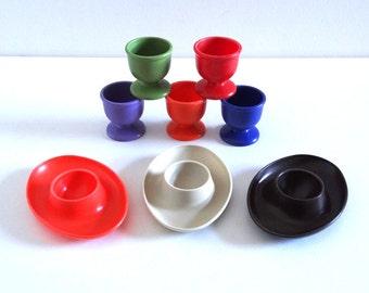 8 Vintage 1970s Plastic Egg Cups EMSA West Germany
