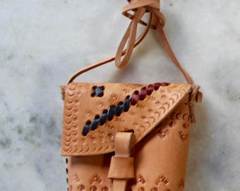 Tooled Leather Bag Festival Style