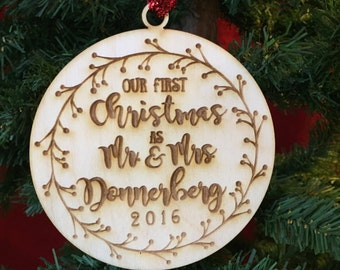 Our First Christmas as Mr and Mrs Ornament with twigs - Custom Engraved Ornament - First Christmas Gift Wedding Marriage