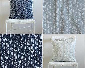 Gray, Navy Blue, White Birds Pillow covers, Gray Couch Pillow Covers, Gray, White Decorative Throw Pillow, Navy Blue, white Euro Sham