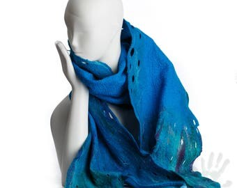 Cobalt blue scarf /  Handmade felted scarf /  Merino wool / Nuno felt /  One of a kind/ Free shipping.