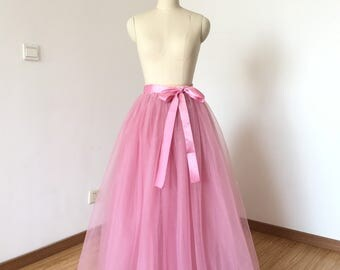 Elastic Waist Dusty Pink Tulle Long Skirt