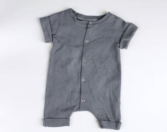 Cotton Rolled Hem Snap Front Romper Hand Dyed Cool Gray