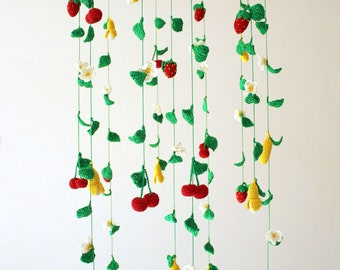 Baby mobile Flower mobile Crochet mobile Baby mobile girl Fruit baby mobile Berries beby mobile Strawberry baby mobile Cherry Knit mobile