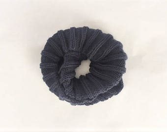 Infinity Scarf Hand Knit, Hand Knitted Ribbed Scard - Blue (Kids)