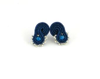 Denim blue earrings, blue stud earrings, dark blue earrings, soutache earrings, small earrings, bohemian earrings, everyday wear, gifts