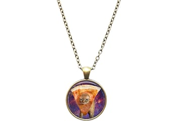 Pizza Cat pendant Space jewelry Meme necklace