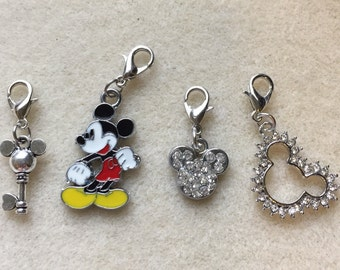 Mickey Mouse Dangle Charm Lobster Clasp Rhinestone Key Head