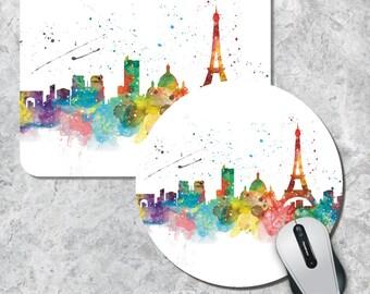Paris Mousepad, Skyline Mouse Pad, Watercolor Mouse Mat, Paris France, Round Mouse Pad, Custom Mousepad, Wooden Mousepad, Cityscape Mousepad