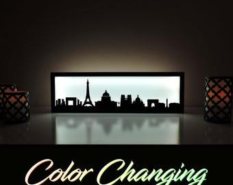 Paris Skyline, Paris Lightbox, Paris Skyline Light Up Picture, Paris Skyline Picture, Nightlight, LED Lamp, Home Decor