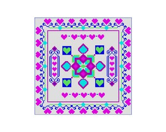 Lapghan Pattern, Tunisian Crochet Color Chart Pattern Hearts Galore, Crochet Pattern, Heart, Crochet Blanket Instructions, Color Graph Heart