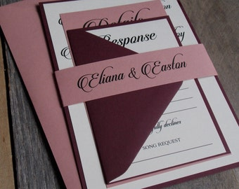 Burgundy Wedding Invitations, Mauve Wedding Invitations, Burgundy and Dusty Rose Modern, Calligraphy Wedding Invitations, S023-Eliana