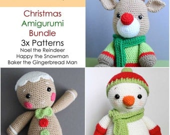 Crochet Amigurumi Reindeer, Snowman and Gingerbread Man PATTERNS ONLY Bundle, Special Offer, Stuffed Toy Pattern
