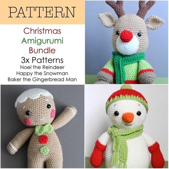 Christmas Reindeer Amigurumi : Crochet Amigurumi Reindeer Snowman and Gingerbread Man