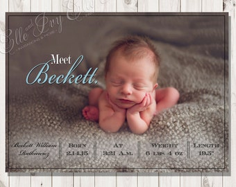 Meet Baby Boy Birth Announcement - Blue and White New Baby Announcement