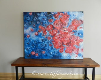Roses abstract painting, roses acrylic painting, red roses and blue roses abstract painting, original painting, floral painting abstract