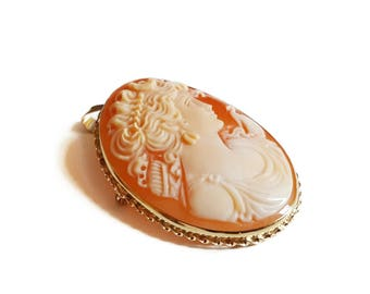 Classical Diana cameo brooch and pendant handmade carnelian cassis set in 9kt gold jewelry jewels for woman gift for her