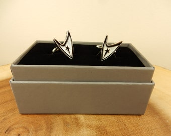 Star Trek Cufflinks, Shirt Cuffs, Wedding Cufflinks, Gift for Him, Sci-Fi Present, Starfleet Insignia