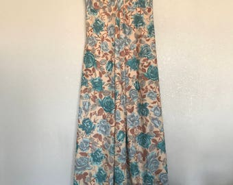Blue and tan floral Maxi dress