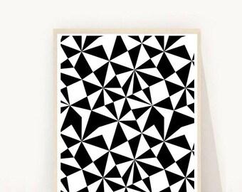 Abstract Art Print, Geometric Art, Printable Wall Art, Op Art,  Black and White Art, Instant Download, Modern Wall Art