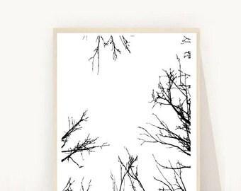 Minimalist Poster,Tree Print, Branches Print, Tree Silhouette, Black and White Art, Scandinavian Art, Digital Download, Wall Decor