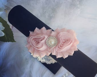 Vintage Pink and Lace Headband