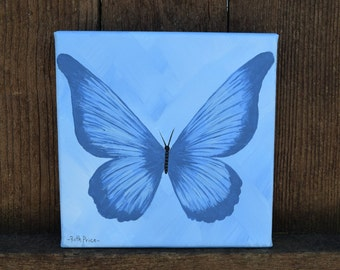 Beautful in Blue Butterfly Original Painting on Canvas