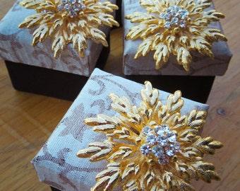 4 Dahlia Brooches Gift Set #5921