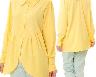 Long Sleeve Shirt Women | Yellow Blouse | Long Sleeved Blouse | Reversible Blouse | Yellow Tunic Top | Cotton Blouse | Yellow Shirt 8046