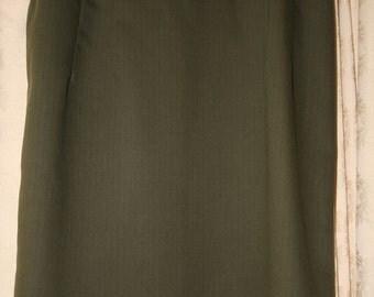 Shady Lane Handmade pencil skirt olive green pinstripe with contrast back split