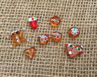 8 | Gingerbread Lampwork Glass Beads | Gingerbread House | Christmas Beads | 12mm to 16mm