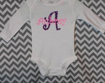 Infant Onesie Personalized with Name, Glitter Vinyl, Short Sleeve Onesie