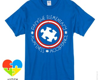 PARKSIDE ELEMENTARY Captain America Themed Autism Shirt - LOCAL Delivery Use Free Shipping Code!