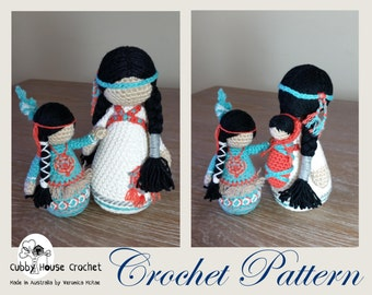 Crochet Pattern Package. Mother NOVA with baby LALLO and child AYASHA . Two Patterns Included.