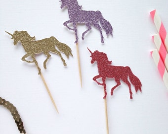 Unicorn Cupcake Toppers - Unicorn Party Decor - First Birthday - Pastel Birthday Party - Rainbow Party