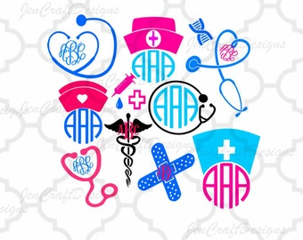 Nurse SVG Stethoscope SVG Nursing Svg EPS Png Dxf, cut file set for Cricut Design Space, Silhouette Studio, Digital Cut Files