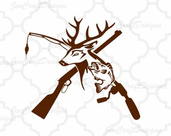 Deer and Fish, riffle. Fishing pole iSVG, Hunting Fishing Svg, eps, dxf and PNG Format for Cricut and Silhouette, Hunting Fishing