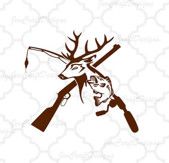 Deer and fish riffle fishing pole isvg hunting fishing svg for Hunting fishing loving everyday