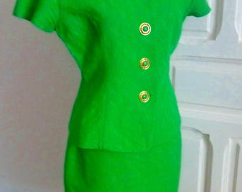 80s vintage fluorescent green summer dress