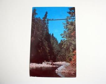 Capilano Canyon Suspension Bridge Postcard 1962  / NorthVancouver Postcard / British Columbia Postcard /
