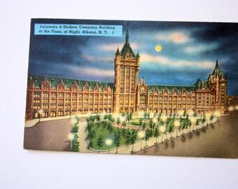 Albany New York Linen Postcard 1955 / Tichnor Postcard / Delaware & Hudson Company Building Albany Postcard