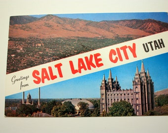 Greetings from Salt Lake City Utah, with stamp dated 1963, Utah souvenir, Vintage Salt Lake City Souvenir